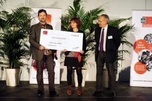 Soirée FME, Remise des Prix, Raphaele BUREL , Alain PENNEL, gagnants du deuxième prix, Atelier d'eco Solidaire,  Montpellier 7 Janvier 2016